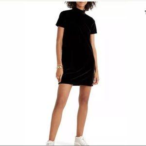 Madewell Black Velvet Mock Neck Shift Dress Large